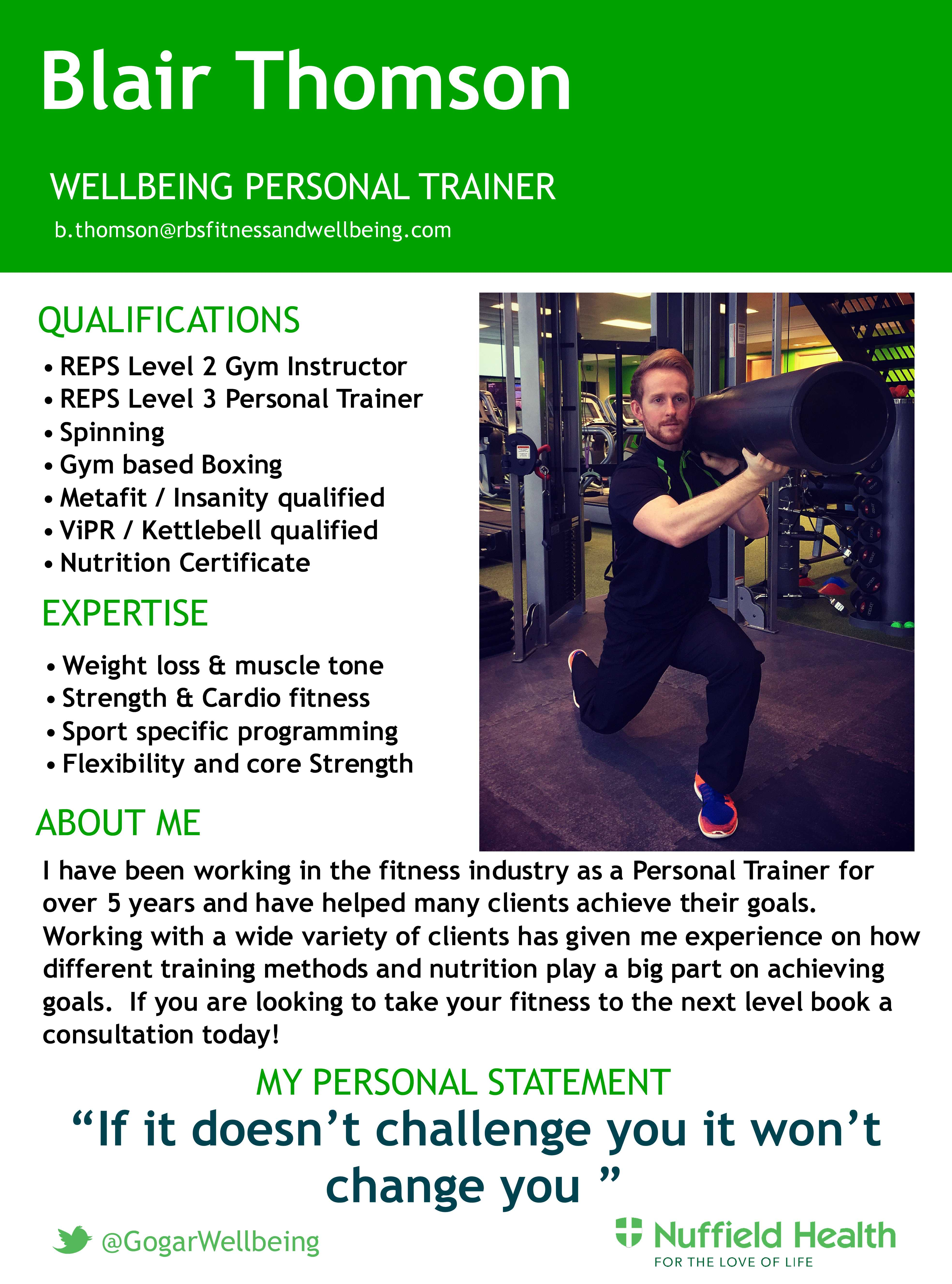 Blair Personal Training Rbs And Nuffield Fitness And Wellbeing