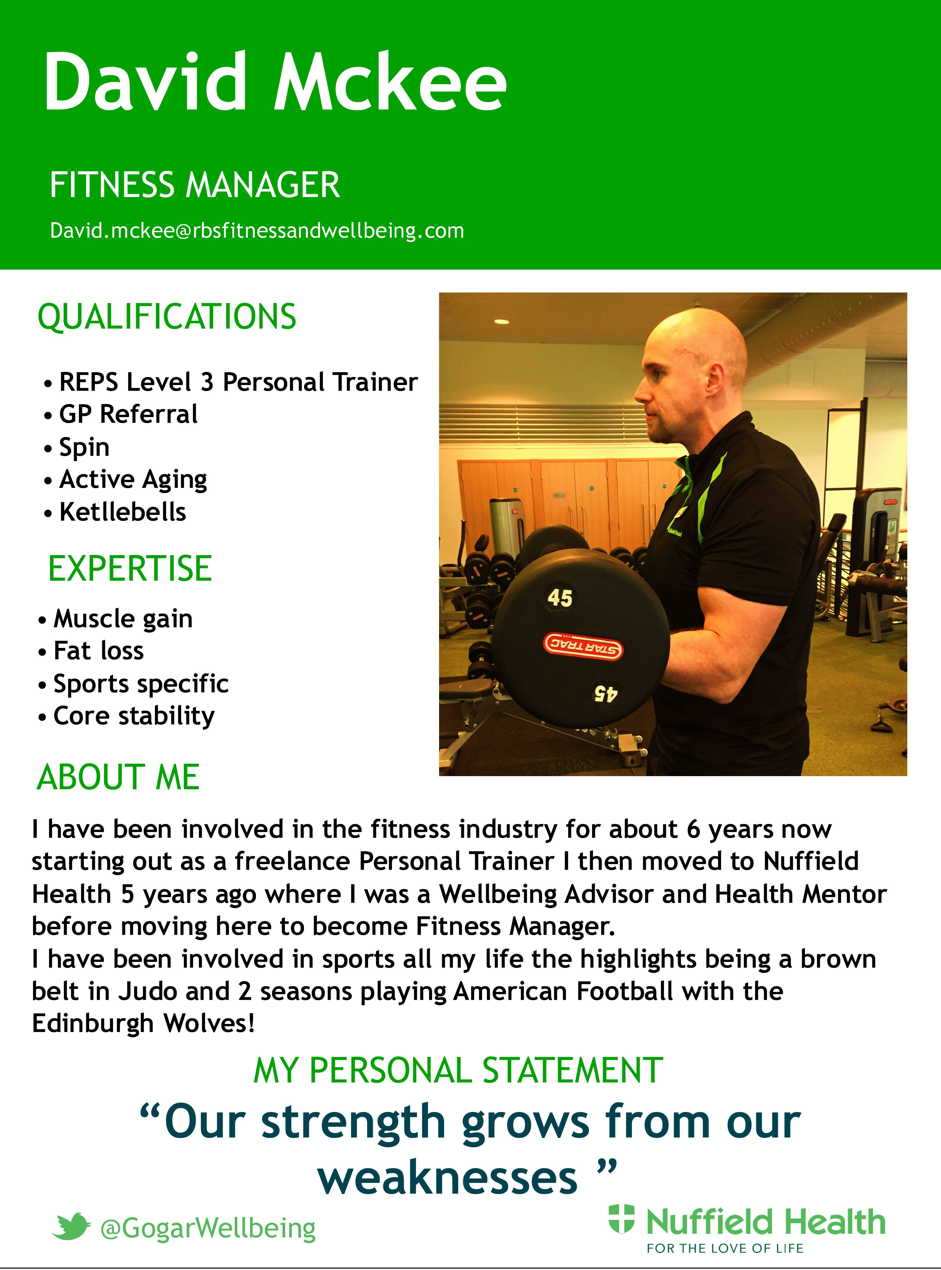 dave mckee personal training rbs and nuffield fitness